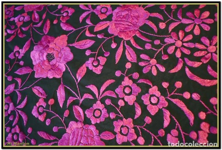 Antigüedades: Mi Mantón. Mantón de Manila, seda bordada a mano negro y rosa fucsia - Foto 4 - 181392522