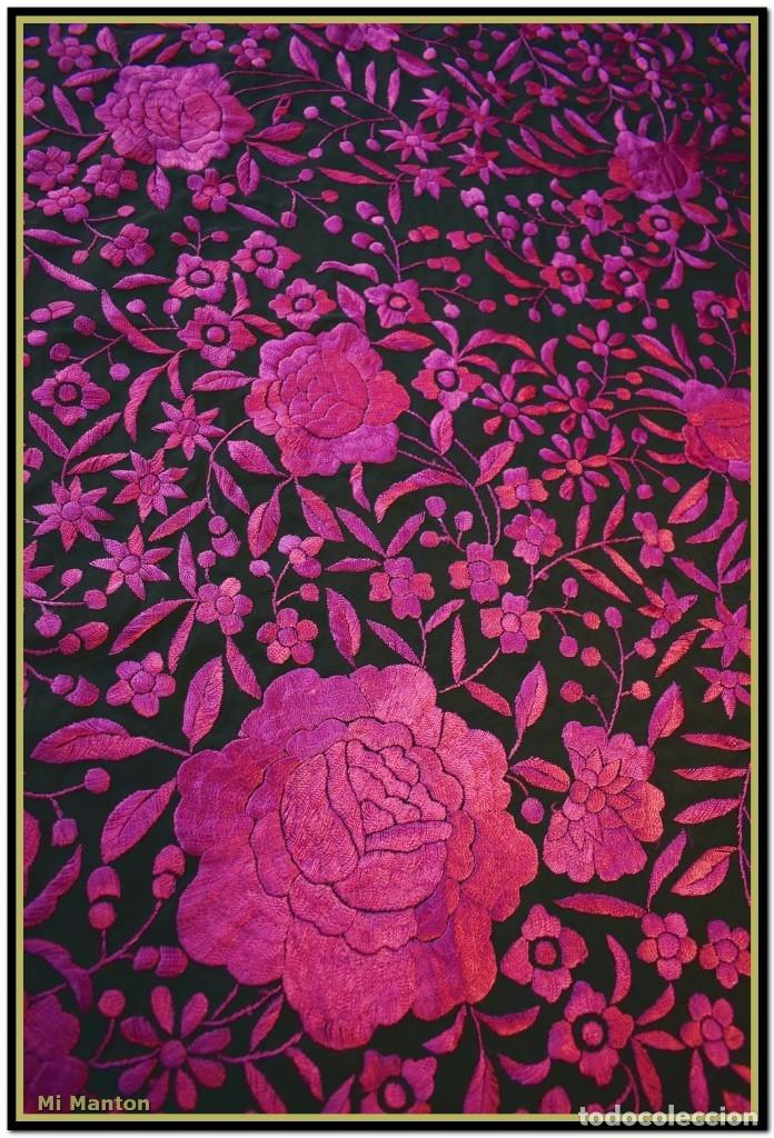 Antigüedades: Mi Mantón. Mantón de Manila, seda bordada a mano negro y rosa fucsia - Foto 7 - 181392522