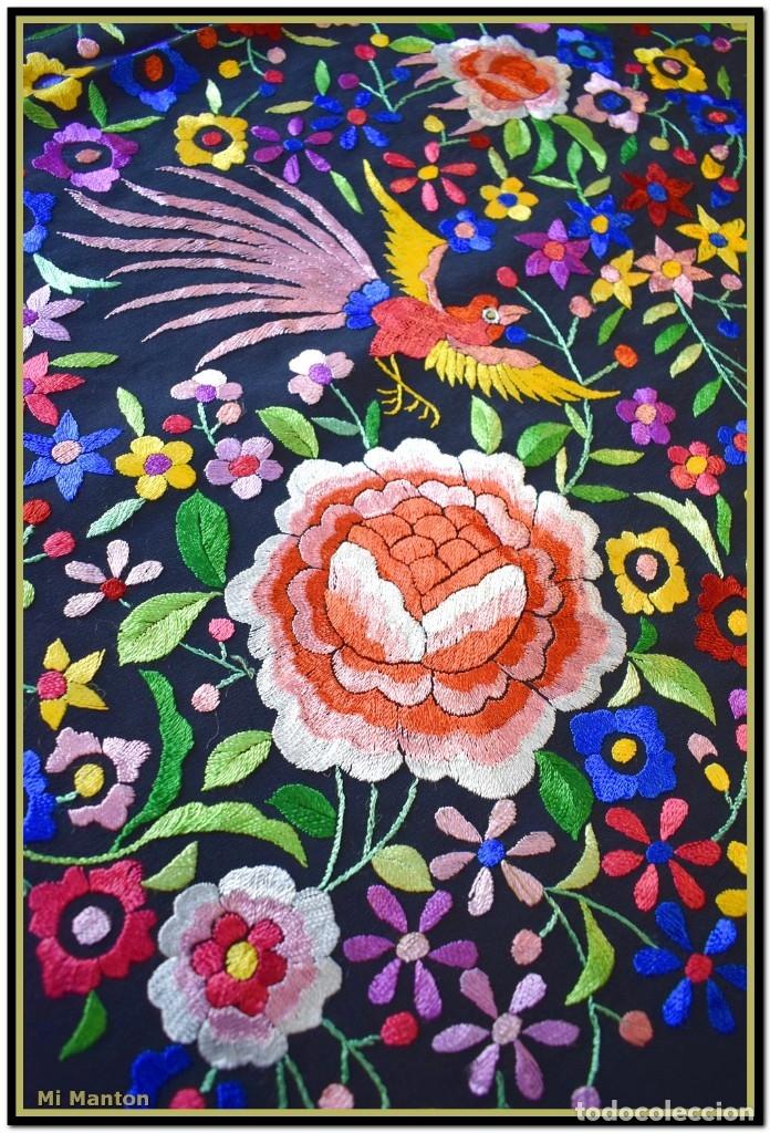 Antigüedades: Mi Mantón. Mantón de Manila, seda bordada a mano pájaros y flores - Foto 2 - 181393080