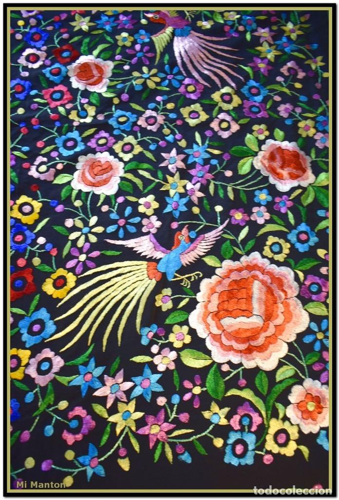 Antigüedades: Mi Mantón. Mantón de Manila, seda bordada a mano pájaros y flores - Foto 3 - 181393080