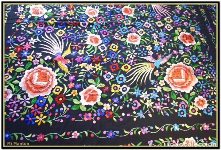 Antigüedades: Mi Mantón. Mantón de Manila, seda bordada a mano pájaros y flores - Foto 4 - 181393080