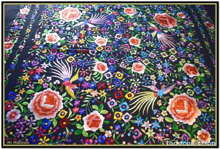 Antigüedades: Mi Mantón. Mantón de Manila, seda bordada a mano pájaros y flores - Foto 5 - 181393080