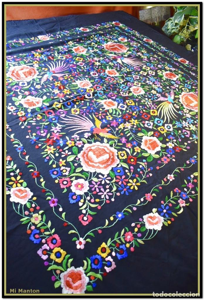 Antigüedades: Mi Mantón. Mantón de Manila, seda bordada a mano pájaros y flores - Foto 6 - 181393080