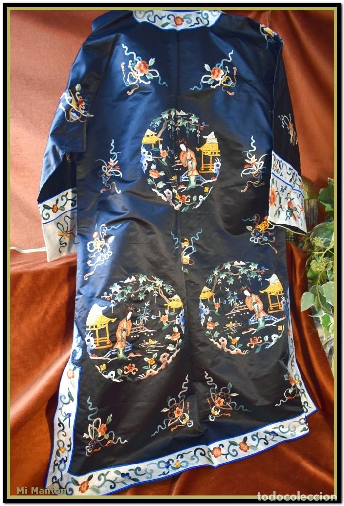 Antigüedades: Mi Manton . Antiguo kimono seda bordado a mano S XiX - Foto 2 - 181396575
