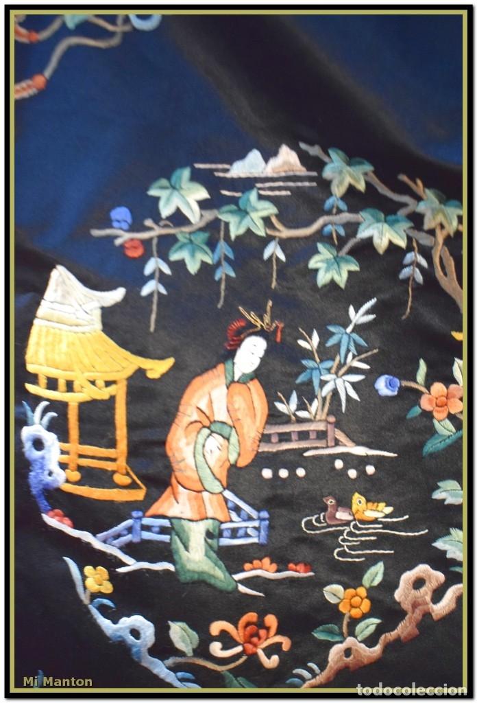 Antigüedades: Mi Manton . Antiguo kimono seda bordado a mano S XiX - Foto 4 - 181396575