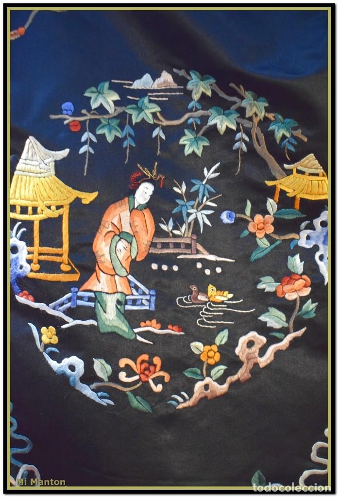 Antigüedades: Mi Manton . Antiguo kimono seda bordado a mano S XiX - Foto 5 - 181396575