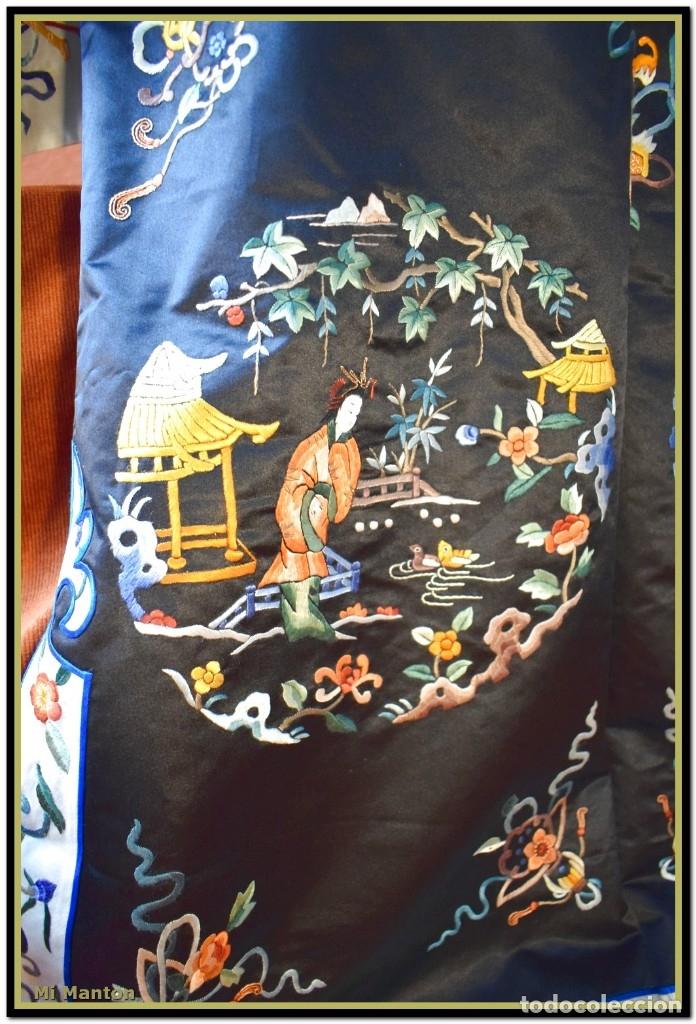 Antigüedades: Mi Manton . Antiguo kimono seda bordado a mano S XiX - Foto 8 - 181396575