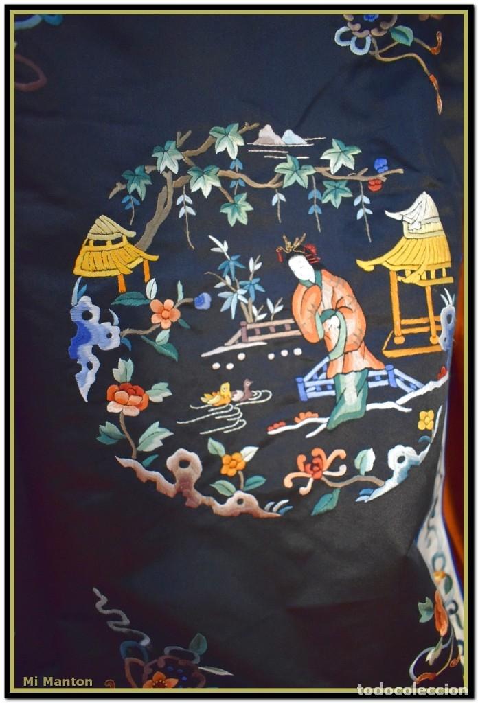 Antigüedades: Mi Manton . Antiguo kimono seda bordado a mano S XiX - Foto 9 - 181396575
