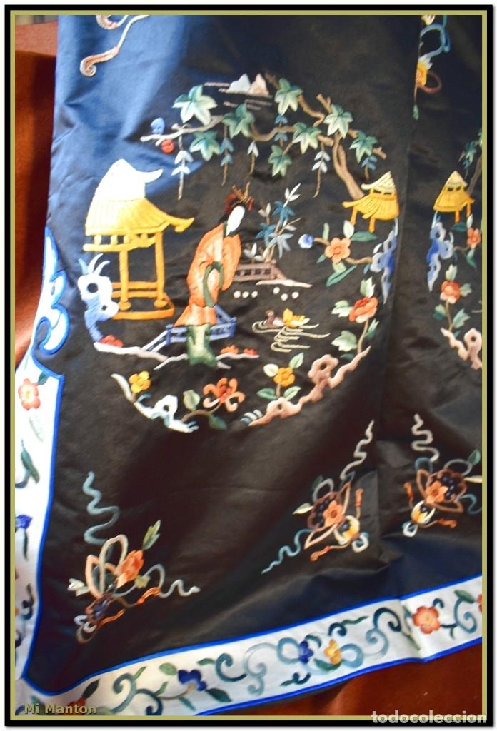 Antigüedades: Mi Manton . Antiguo kimono seda bordado a mano S XiX - Foto 11 - 181396575