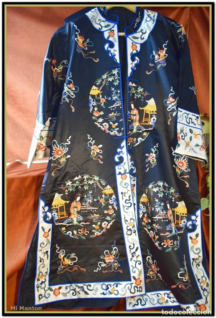 Antigüedades: Mi Manton . Antiguo kimono seda bordado a mano S XiX - Foto 12 - 181396575