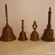 Antigüedades: LOTE CUATRO CAMPANAS DE MANO EN BRONCE. Lote 181400792