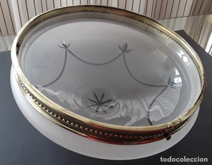 Antigüedades: Lámpara, plafón, cristal y latón - Foto 12 - 181438066