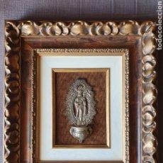 Antigüedades: VIRGEN DE LA ALMUDENA. BENDITERA DE PLATA MACIZA CON MARCAS DE ORFEBRE. PPS. S. XX.. Lote 181444440