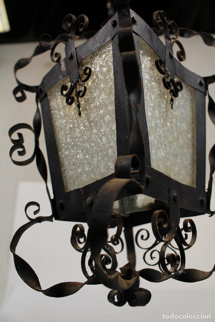 Antigüedades: lampara de techo farol en hierro de forja y cristal - Foto 2 - 181445556