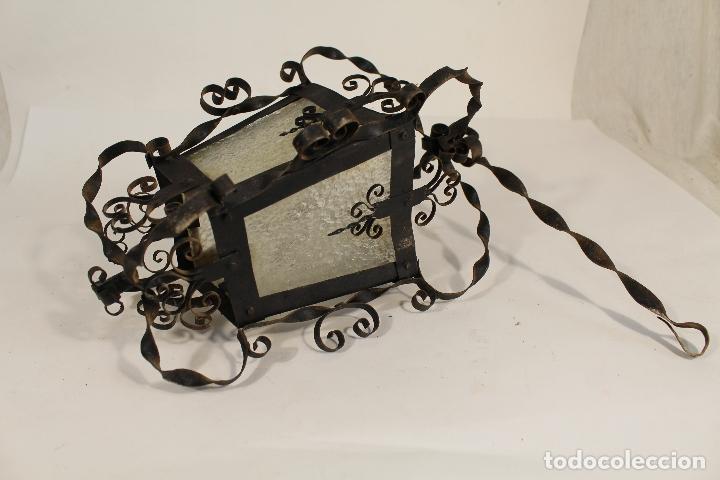 Antigüedades: lampara de techo farol en hierro de forja y cristal - Foto 3 - 181445556