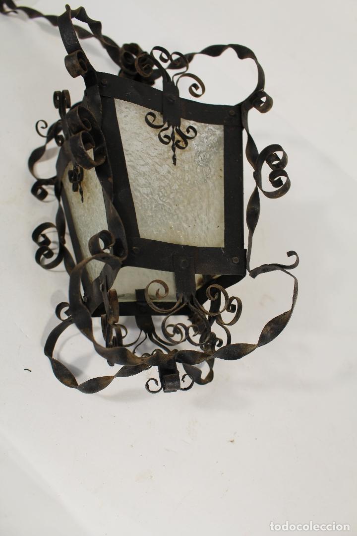 Antigüedades: lampara de techo farol en hierro de forja y cristal - Foto 4 - 181445556