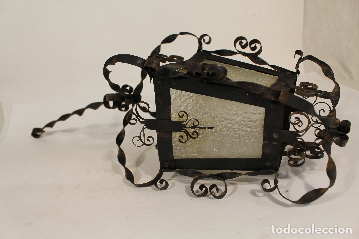 Antigüedades: lampara de techo farol en hierro de forja y cristal - Foto 5 - 181445556