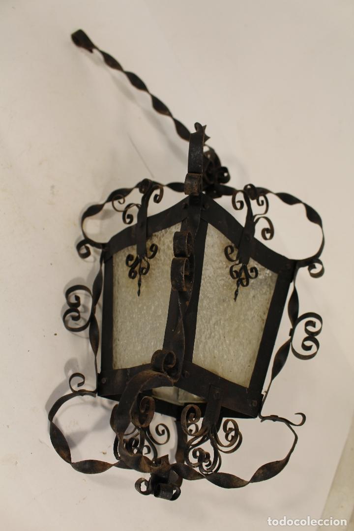 Antigüedades: lampara de techo farol en hierro de forja y cristal - Foto 6 - 181445556