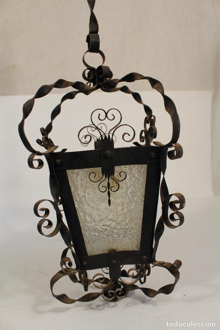 LAMPARA DE TECHO FAROL EN HIERRO DE FORJA Y CRISTAL (Antigüedades - Iluminación - Faroles Antiguos)