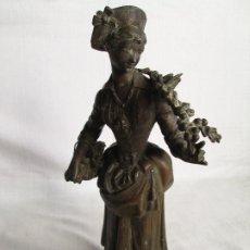 Antigüedades: FIGURA DE MUJER EN CALAMINA ART NOUVEAU - ADOLPHE JEAN LAVERGNE - RECOGIENDO LAS PRIMERAS CEREZAS. Lote 181461326