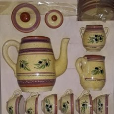 Antigüedades: CERAMICA ESMALTADA JUEGO DE CAFE 15 PIEZAS. Lote 181469646