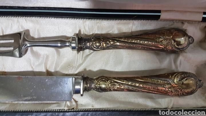 Antigüedades: Antiguo tenedor de trinchar y cuchillo - Foto 2 - 181486983