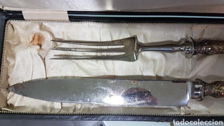 Antigüedades: Antiguo tenedor de trinchar y cuchillo - Foto 3 - 181486983