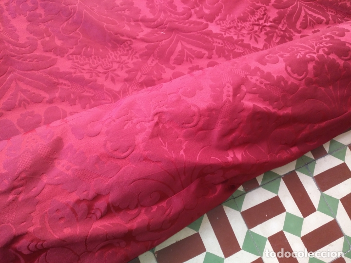 Antigüedades: brocado damasco cofrade rojo 314 cm x 2 metro telon cortina manto saya virgen semana santa CRISTO - Foto 2 - 270961798