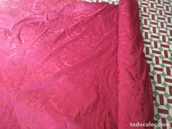 Antigüedades: brocado damasco cofrade rojo 314 cm x 2 metro telon cortina manto saya virgen semana santa CRISTO - Foto 5 - 270961798