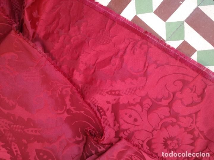 Antigüedades: brocado damasco cofrade rojo 314 cm x 2 metro telon cortina manto saya virgen semana santa CRISTO - Foto 6 - 270961798