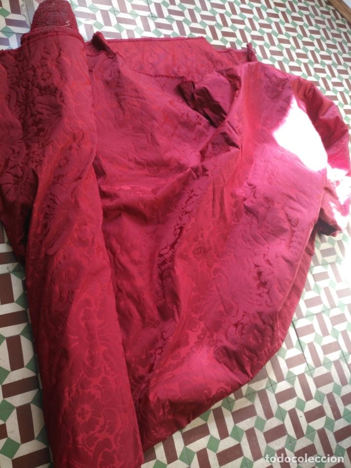 Antigüedades: brocado damasco cofrade rojo 314 cm x 2 metro telon cortina manto saya virgen semana santa CRISTO - Foto 8 - 270961798