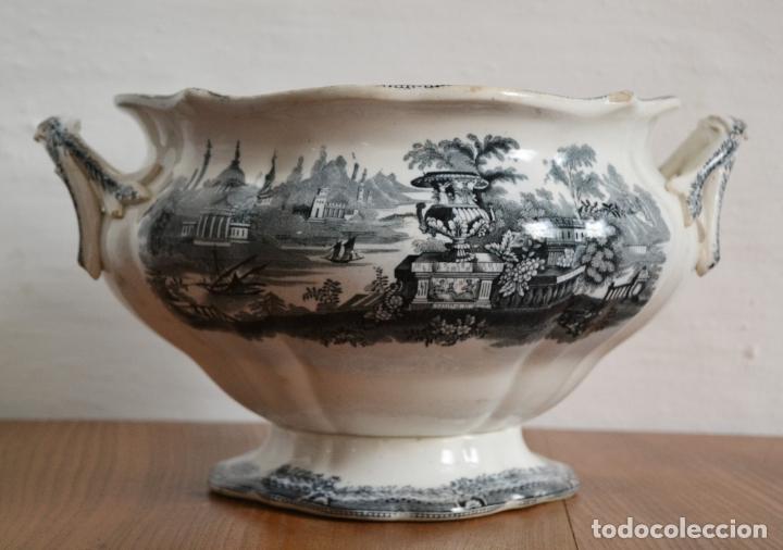 Antigüedades: ANTIGUA GRAN SOPERA REDONDA SELLADA SARGADELOS * SIGLO XIX - Foto 3 - 181508251