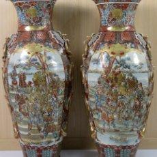 Antigüedades: PAREJA JARRONES IMPERIALES PORCELANA SATSUMA DECORADOS JAPÓN PERIODO MEIJI S XIX. Lote 181576151