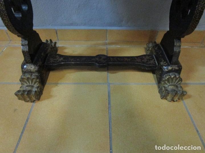 Antigüedades: Precioso Costurero - Madera Lacada y Dorada con Chinoiseries - Interior en Marfil y Espejo -S. XVIII - Foto 5 - 181594771