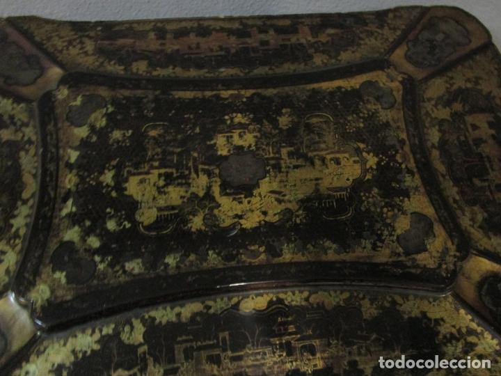 Antigüedades: Precioso Costurero - Madera Lacada y Dorada con Chinoiseries - Interior en Marfil y Espejo -S. XVIII - Foto 19 - 181594771