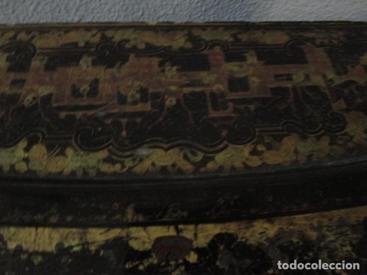 Antigüedades: Precioso Costurero - Madera Lacada y Dorada con Chinoiseries - Interior en Marfil y Espejo -S. XVIII - Foto 20 - 181594771