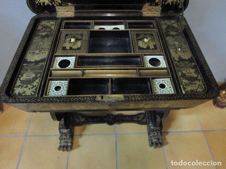 Antigüedades: Precioso Costurero - Madera Lacada y Dorada con Chinoiseries - Interior en Marfil y Espejo -S. XVIII - Foto 22 - 181594771