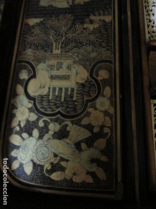 Antigüedades: Precioso Costurero - Madera Lacada y Dorada con Chinoiseries - Interior en Marfil y Espejo -S. XVIII - Foto 26 - 181594771
