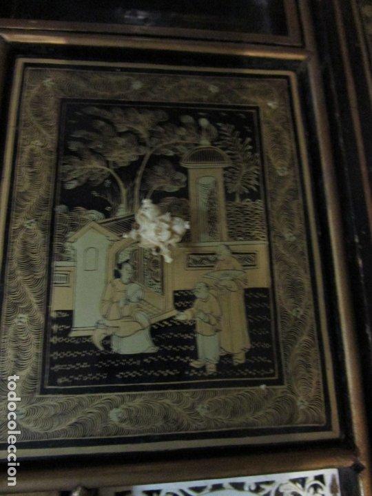 Antigüedades: Precioso Costurero - Madera Lacada y Dorada con Chinoiseries - Interior en Marfil y Espejo -S. XVIII - Foto 27 - 181594771