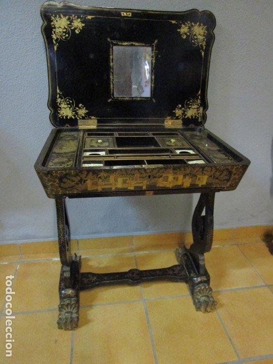 Antigüedades: Precioso Costurero - Madera Lacada y Dorada con Chinoiseries - Interior en Marfil y Espejo -S. XVIII - Foto 32 - 181594771
