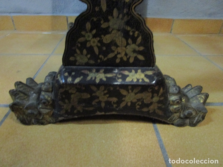 Antigüedades: Precioso Costurero - Madera Lacada y Dorada con Chinoiseries - Interior en Marfil y Espejo -S. XVIII - Foto 40 - 181594771