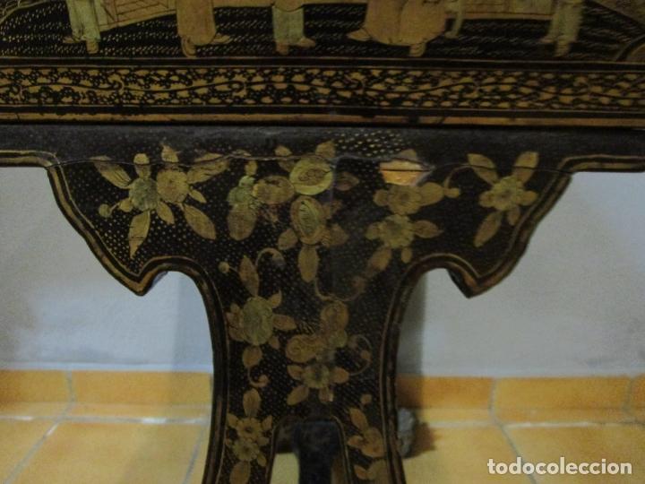 Antigüedades: Precioso Costurero - Madera Lacada y Dorada con Chinoiseries - Interior en Marfil y Espejo -S. XVIII - Foto 43 - 181594771