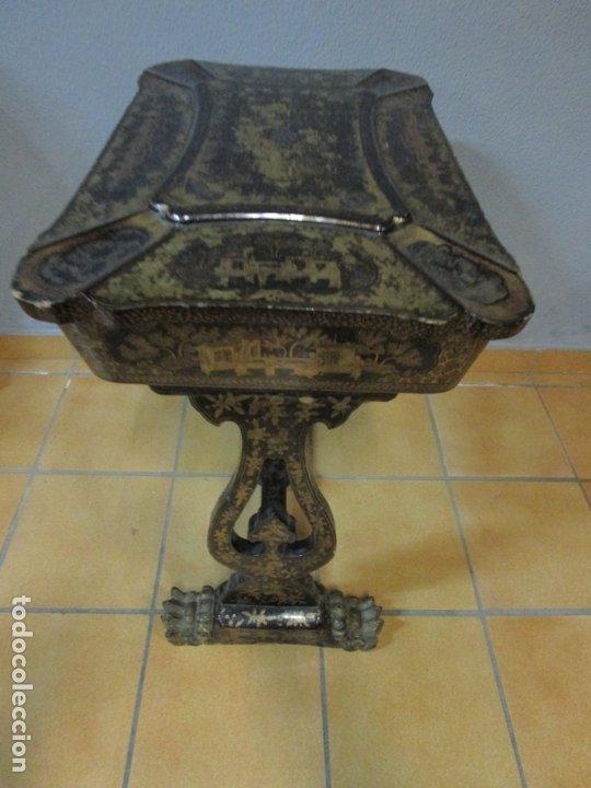 Antigüedades: Precioso Costurero - Madera Lacada y Dorada con Chinoiseries - Interior en Marfil y Espejo -S. XVIII - Foto 45 - 181594771