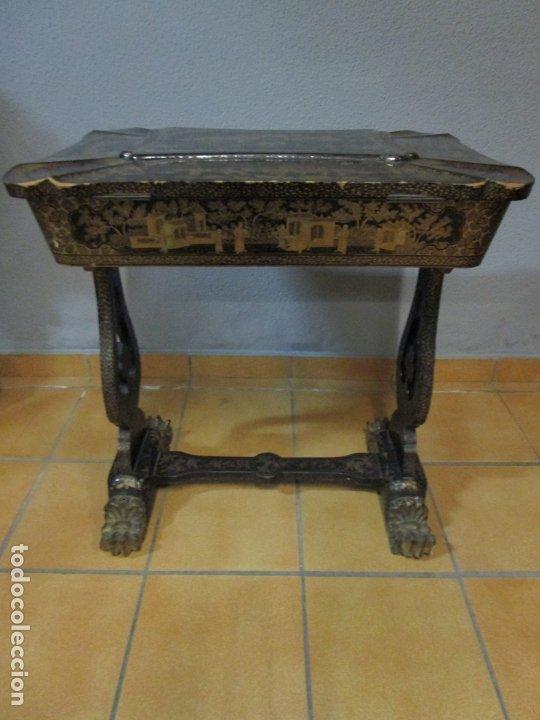 Antigüedades: Precioso Costurero - Madera Lacada y Dorada con Chinoiseries - Interior en Marfil y Espejo -S. XVIII - Foto 47 - 181594771