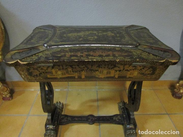 Antigüedades: Precioso Costurero - Madera Lacada y Dorada con Chinoiseries - Interior en Marfil y Espejo -S. XVIII - Foto 48 - 181594771