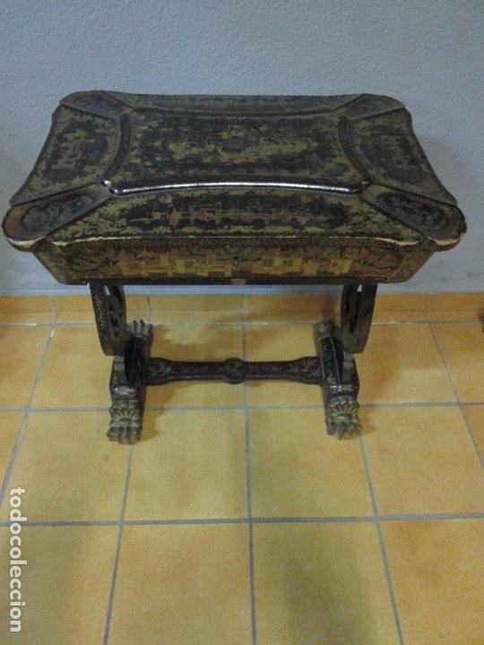 Antigüedades: Precioso Costurero - Madera Lacada y Dorada con Chinoiseries - Interior en Marfil y Espejo -S. XVIII - Foto 49 - 181594771