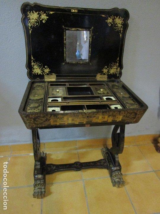 Antigüedades: Precioso Costurero - Madera Lacada y Dorada con Chinoiseries - Interior en Marfil y Espejo -S. XVIII - Foto 50 - 181594771