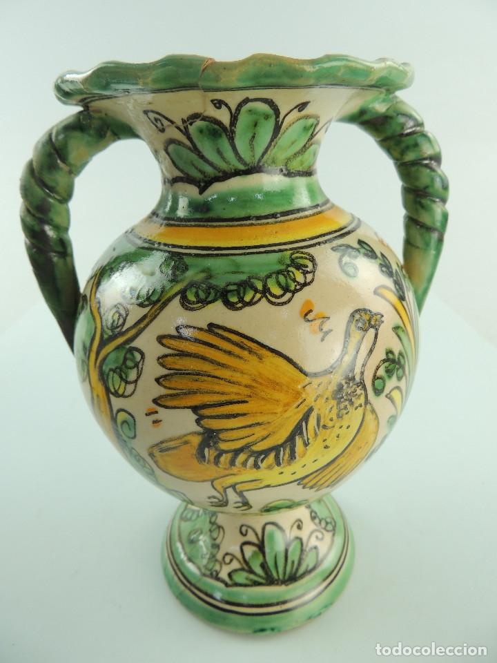 ANTIGUO FLORERO ÁNFORA DE CERÁMICA PINTADO A MANO PUENTE DEL ARZOBISPO MAGNIFICA PIEZA DE DECORACIO (Antigüedades - Porcelanas y Cerámicas - Puente del Arzobispo )
