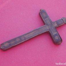 Antigüedades: CRUZ MEDALLA RELICARIO SIGLOS XVII - XVIII EN PLATA. 7,4 CM. Lote 203258382