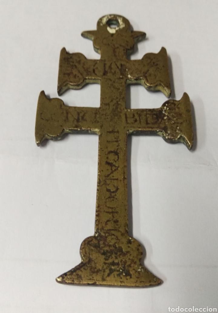 Antigüedades: CRUZ DE CARAVACA BRONCE GRABADO S. XVII - Foto 3 - 181601303